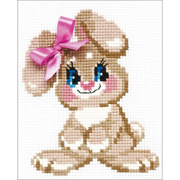 "Baby Rabbit Counted Cross Stitch Kit 6""X7"" 10 Count"