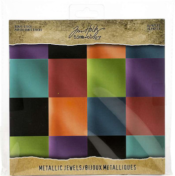 "Idea-Ology Paper Stash Kraft Metallic Paper Pad 8""X8"" 36/Pkg Jewels"
