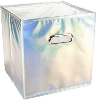 """Square Fabric Storage Cube 10.5""""X10.5""""X11"""" Silver Reflective"""