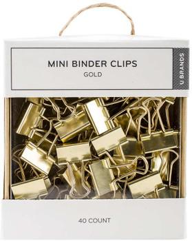 Mini Gold Binder Clips Gold, 40/Pkg