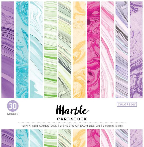 """Colorbok 78lb Single-Sided Printed Cardstock 12""""X12"""" 30/Pkg Marble"""
