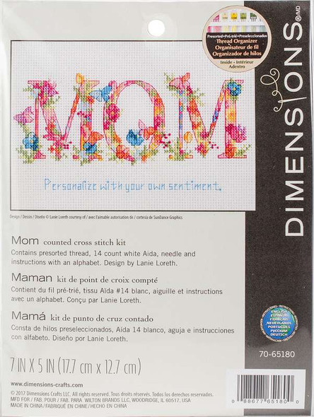 """Dimensions Counted Cross Stitch Kit 7""""X5"""" Mom (14 Count)"""