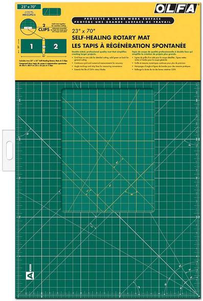 "OLFA Gridded Cutting Mat Set 23""X70"" Clipped"