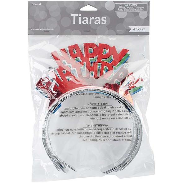 Foil Tiaras 4/Pkg Happy Birthday Assorted Colors