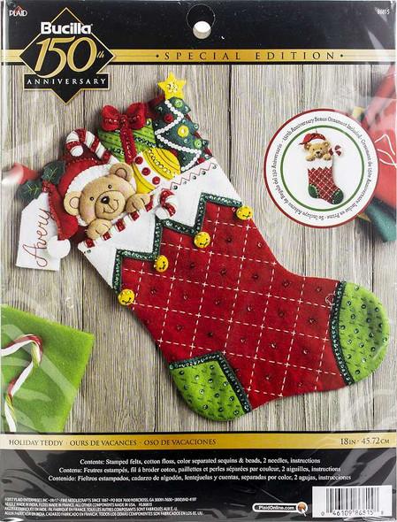 "Bucilla Felt Stocking Applique Kit 18"" Long Holiday Teddy"