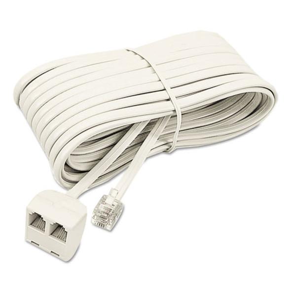 Softalk Telephone Extension Cord, Plug/Dual Jack