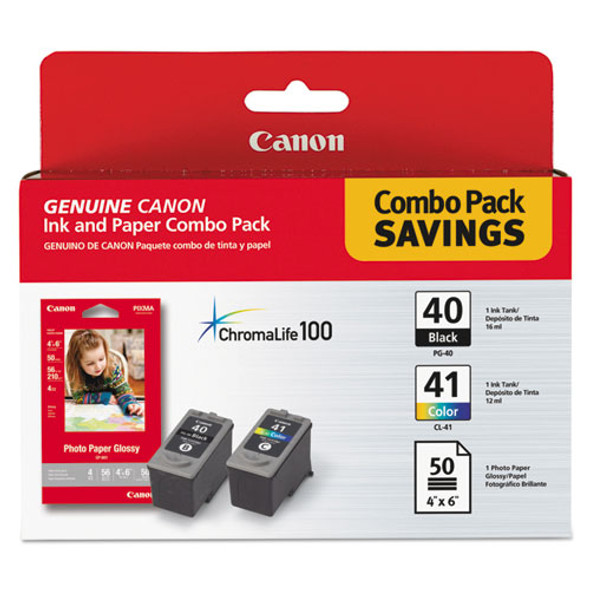 Canon 0615B009 Ink Cartridge and Glossy Photo Paper Combo Pack