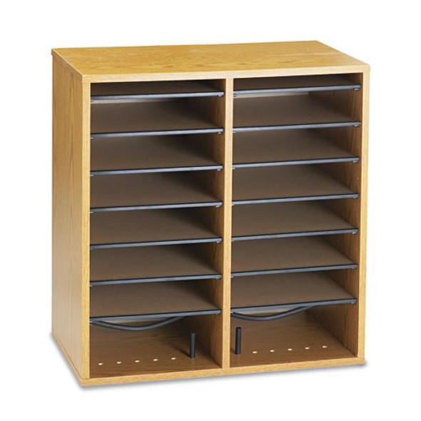 Safco Adjustable Compartment Wood Literature Organizers