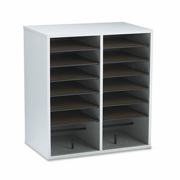 Safco Adjustable Compartment Wood Literature Organizers - SAF9422GR