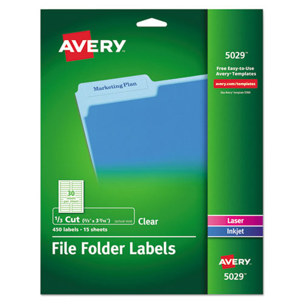 Avery Clear Permanent File Folder Labels