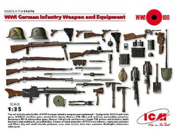 WWI German Infantry Weapon & Equipment -- Plastic Model Military Figure Kit -- 1/35 Scale -- #35678