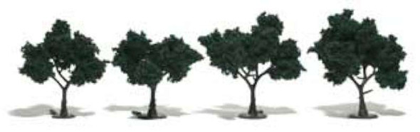 """Ready-Made Realistic Trees - Deciduous - 2 to 3"""" 5.1 to 7.6cm pkg(4) -- Dark Green"""