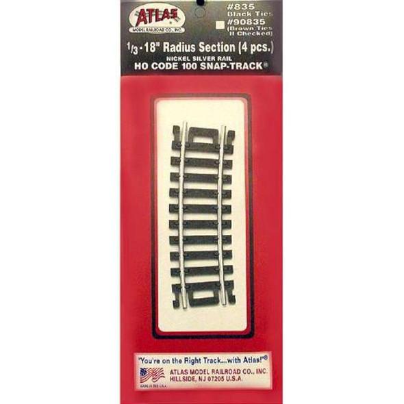 Atlas 835 Code 100 18 Radius Black N/S (4) HO 1/3