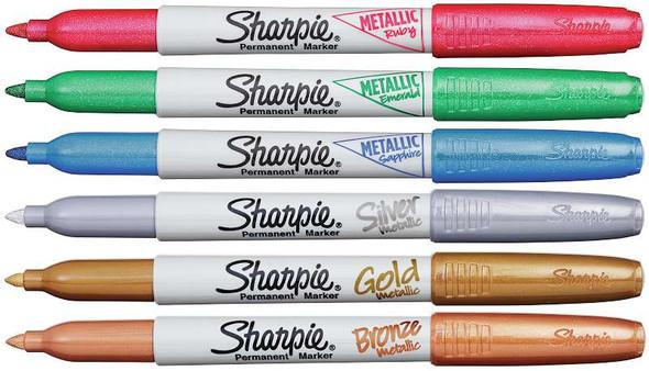 Sharpie Metallic Fine Point Permanent Markers 6/Pkg Ruby,sapphire,emerald,bronze,silver,gold