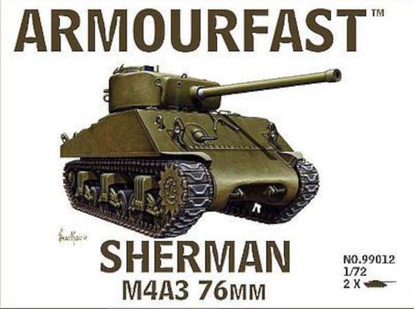 Sherman M4A3 Tank w/76mm Gun (2) -- Plastic Model Tank Kit -- 1/72 Scale -- #99012