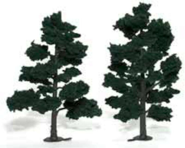 """Ready-Made Realistic Trees - Deciduous - 6 to 7"""" 15.2 to 17.8cm pkg(2) -- Dark Green"""