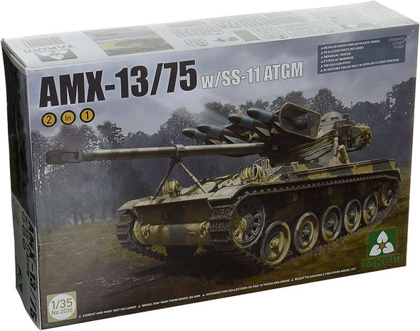 Military Model Kit 1/35 French AMX13/75 Light Tank w/SS11 ATGM Gun (2 in 1) -Takom