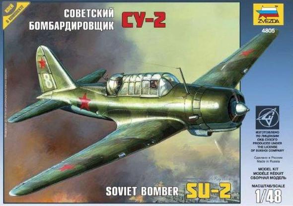 Zvezda Sukhoi SU2 Fighter -- Plastic Model Airplane Kit -- 1/48