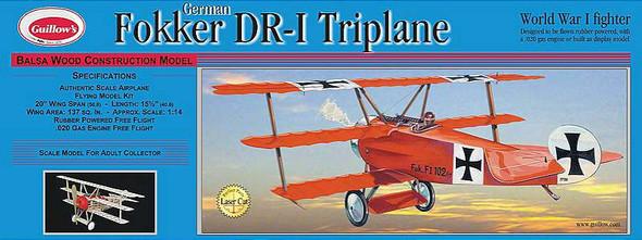 Guillow Fokker DR1 Triplane Laser Cut - GUI204