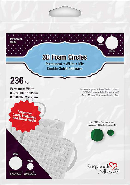 Scrapbook Adhesives 3D Foam Circles White, Assorted Sizes
