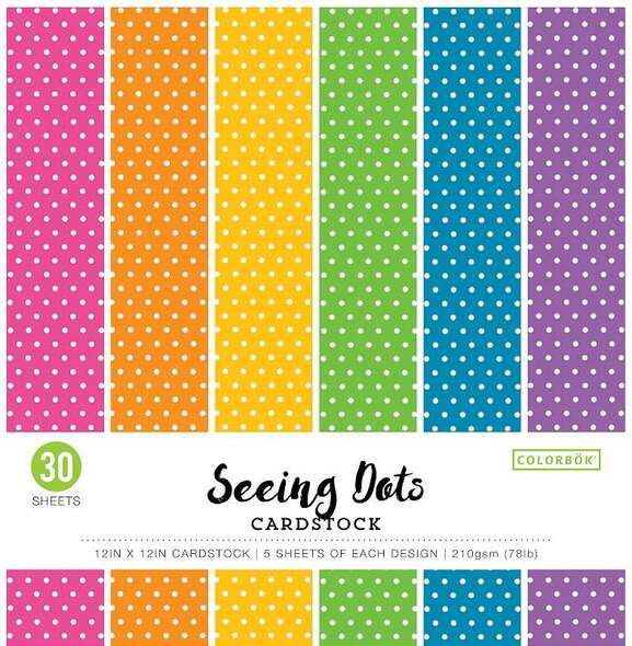 """Colorbok 78lb Single-Sided Printed Cardstock 12""""X12"""" 30/Pkg Bright Spots, 6 Colors/5 Each"""