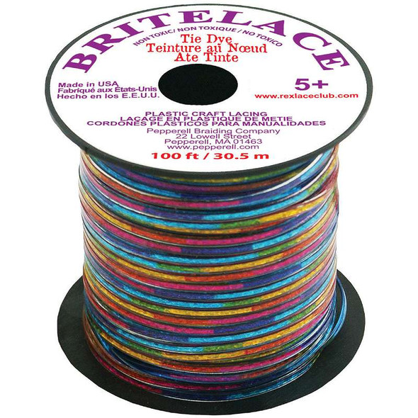 "Rexlace Plastic Lacing .0938""X33yd Lace Tie Dye"