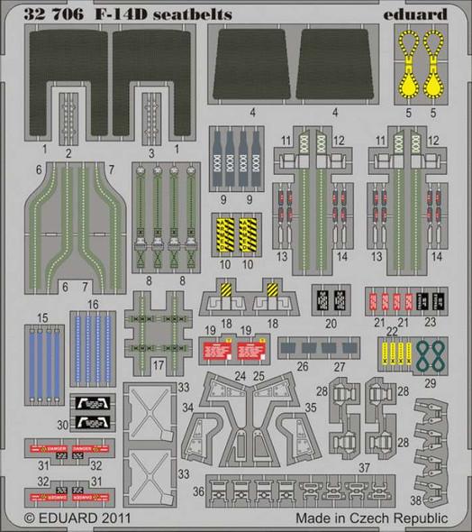 Eduard Models Aircraft- F14D Seatbelts -- Plastic Model Aircraft