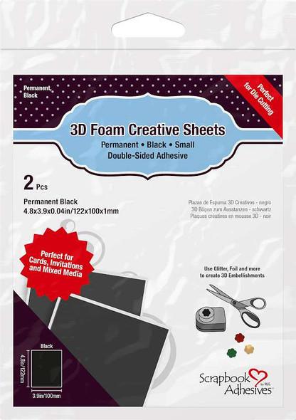 Scrapbook Adhesives 3D Foam Creative Sheets 2/Pkg Thin Black