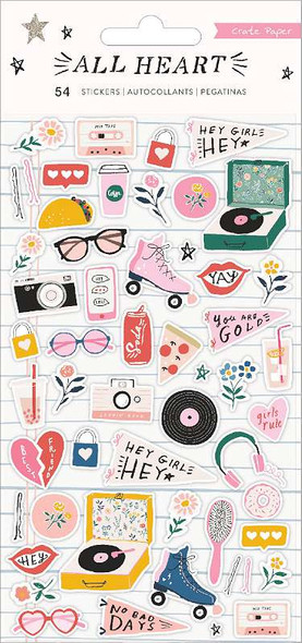 All Heart Puffy Stickers 54/Pkg