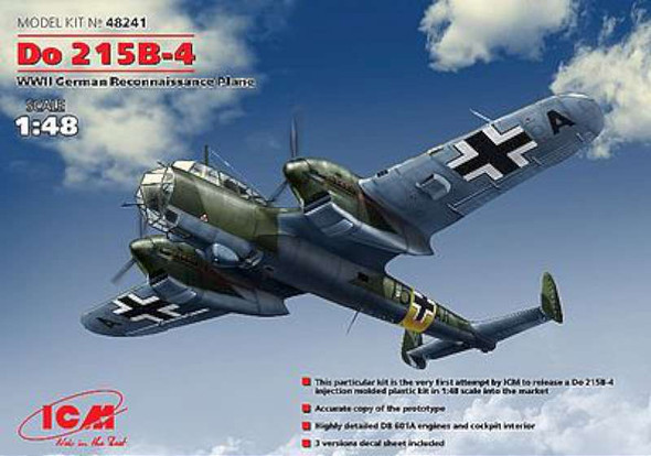 Do215B4 WWII German Recon Aircraft -- Plastic Model Airplane Kit -- 1/48 Scale -- #48241