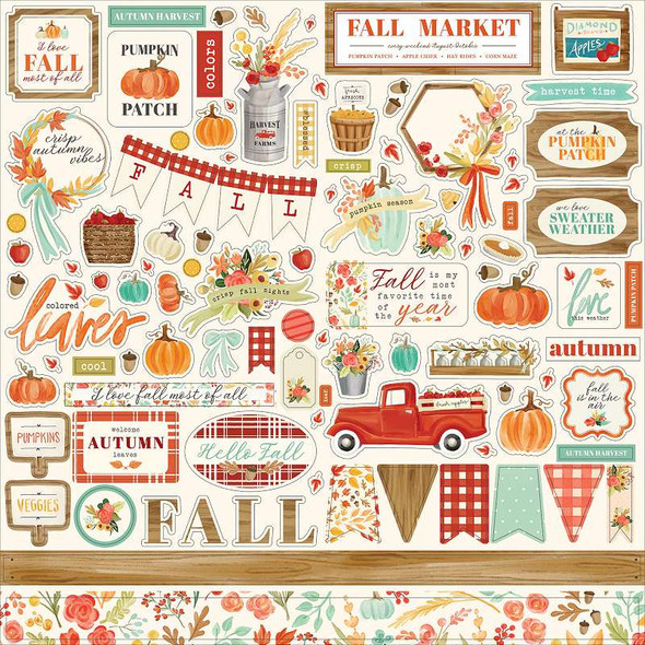 """Fall Market Cardstock Stickers 12""""X12"""" Elements"""