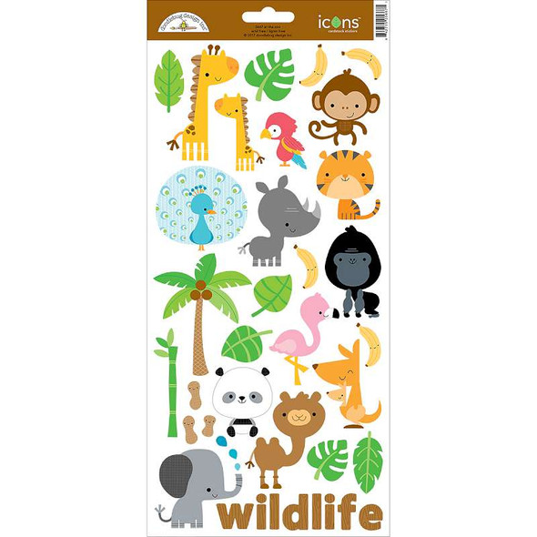 """At The Zoo Cardstock Stickers 6""""X13"""" Icons #1"""