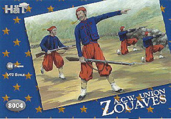 Model Figures - American Civil War Zouaves. 48 Infantry with Several E
