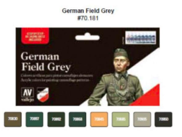 Vallejo Acrylic Paints German Field Grey Uniform Model Color Paint