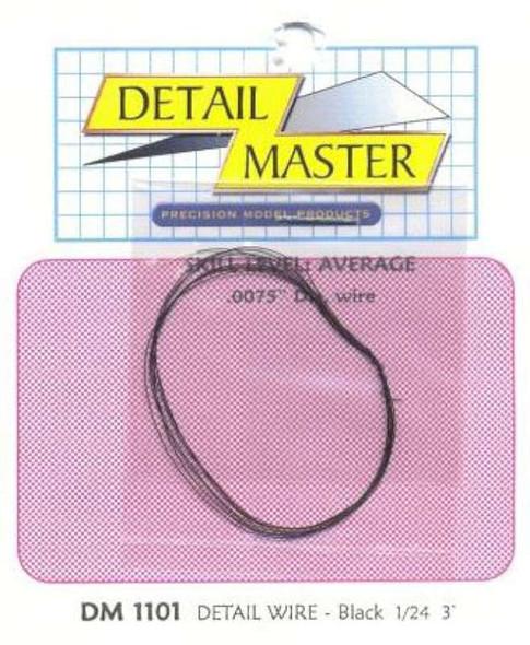 Detail Master 2ft Detail Wire Black -- Plastic Model Vehicle