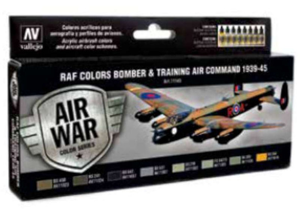 Vallejo Acrylic Paints RAF & FAA Bomber Air Command Paint Set