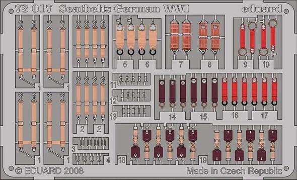 Eduard Photoetch 1:72 - Seatbelts German WWI - EDP73017