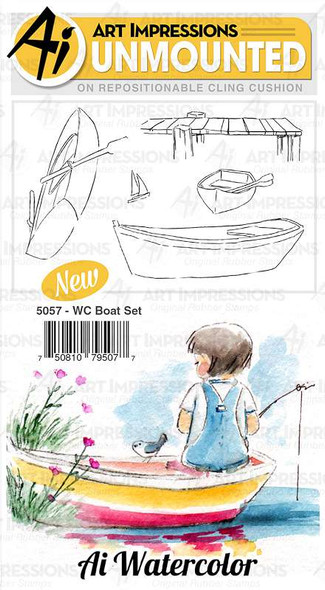 Art Impressions Watercolor Cling Rubber Stamps Boat