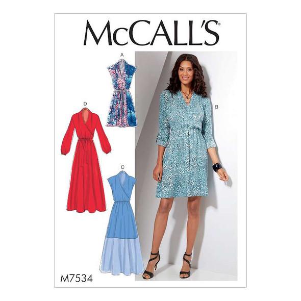Misses' Mock-Wrap Dresses 6-8-10-12-14