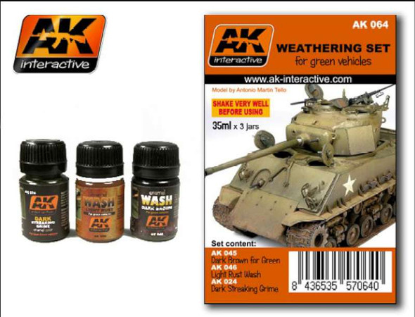 AK Interactive - Weathering Set for Green Vehicles #00064