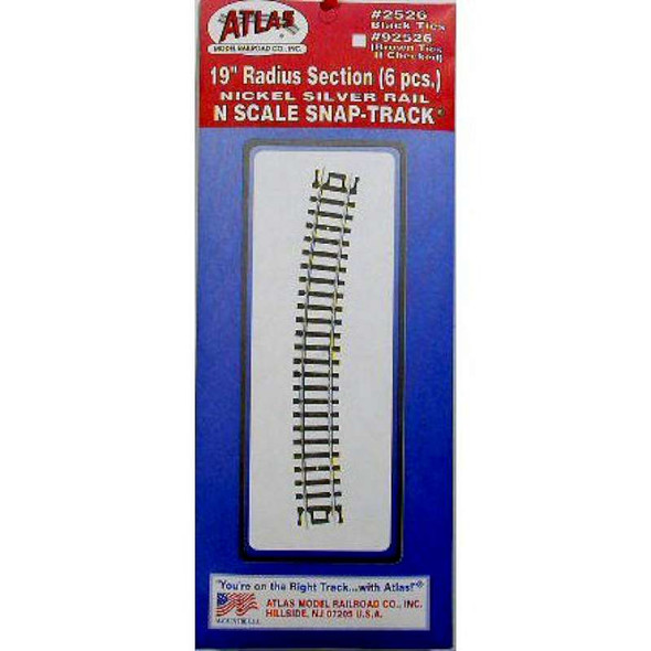 "Atlas 2526 19"" Radius Snap Track 6pcs N Scale"