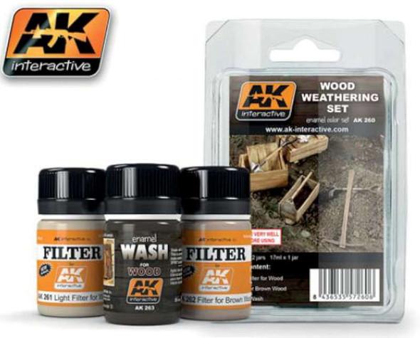 AK Interactive Wood Weathering Enamel Set 35ml Bottle (3) -- Hobby