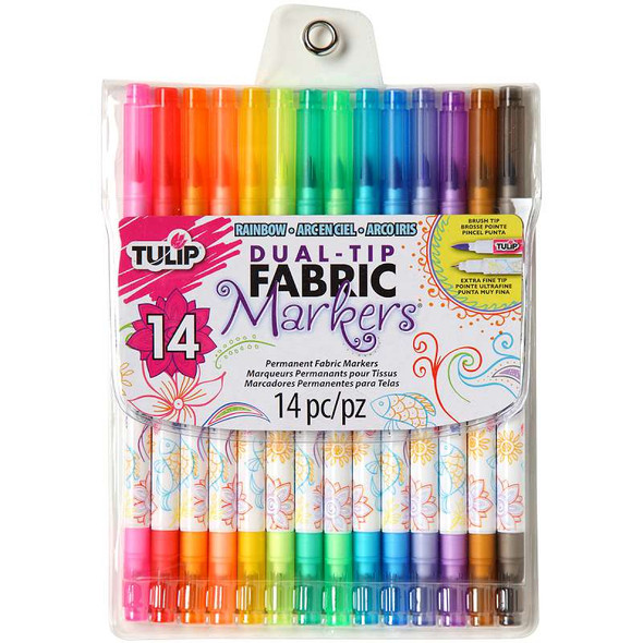 Tulip Dual-Tip Fabric Marker Set 14pc Assorted Colors