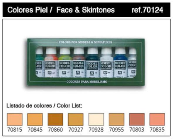 Vallejo Acrylic Paints Face & Skin Tones Model Color Paint Set