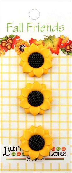 Buttons Galore Fall Buttons 3/Pkg Sunflowers