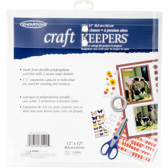 """Craft Keepers Snap Closure Envelope-12""""X12"""" Assorted Colors"""