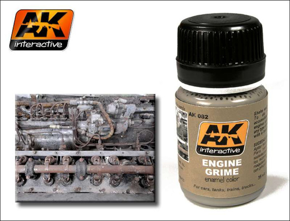 AK Interactive Engine Grime Enamel Paint 35ml Bottle -- Hobby and