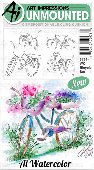 Art Impressions Watercolor Cling Rubber Stamps Bicycle