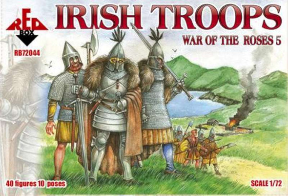 Model Figures - War of The Roses Irish Troops- 1:72 -Red Box
