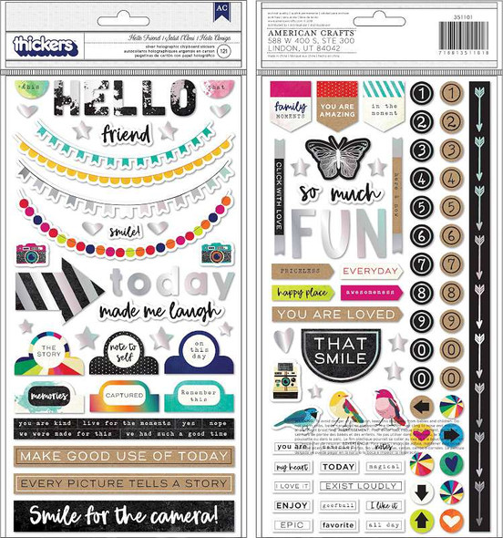 "Vicki Boutin Color Kaleidoscope Thickers 5.5""X11"" 121/Pkg Hello Friend Phrase/Silver Chipboard"